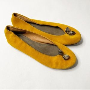 Anthropologie Pilcro Acorn Mustard Flats